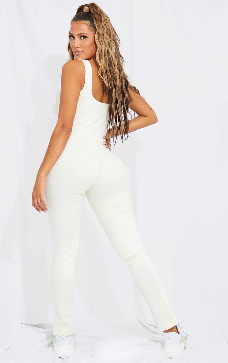 Shape Cream Thick Rib Seam Detail Split Hem Jumpsuit 2
