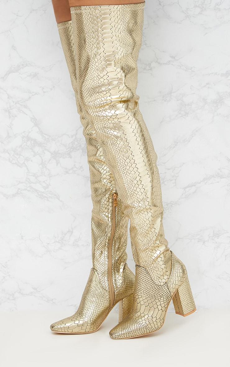 Gold Snake Effect Thigh High Boot 1