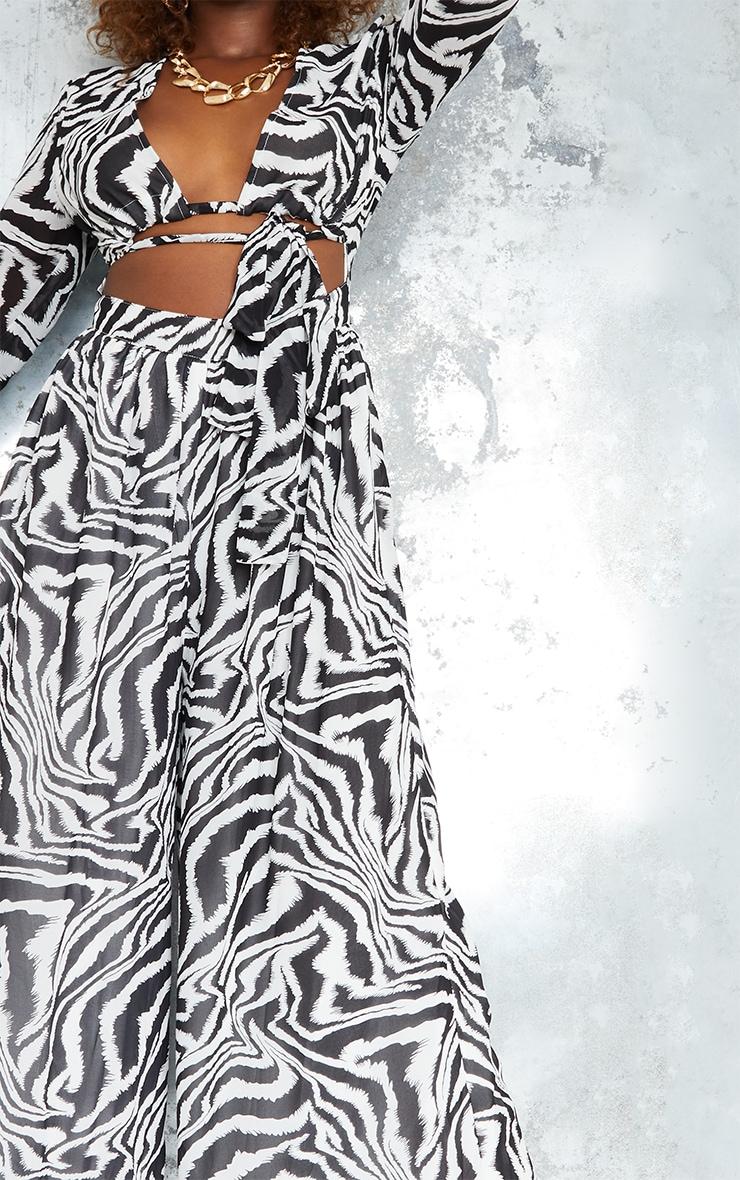 Monochrome Zebra Print Tie Bust Long Sleeve Jumpsuit 4