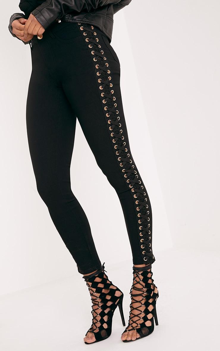Arietta Black Eyelet Lace Up Stretch Trouser 4