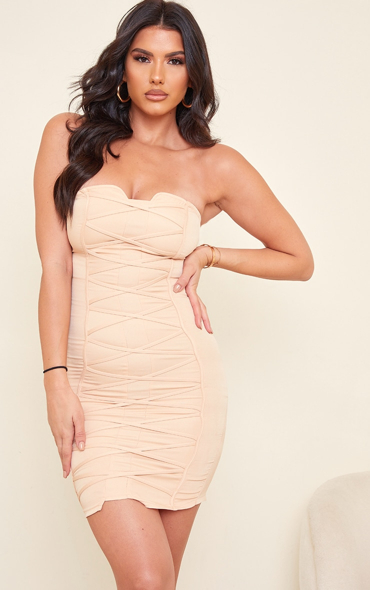 Tall Nude Bandeau Woven Corset Detail Bodycon Dress  1