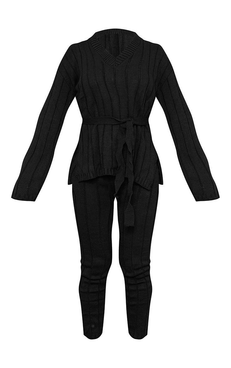 طقم مكون من كنزة طويلة مزودة بحزام للخصر مع سراويل ليجن طويلة، باللون الأسود 5