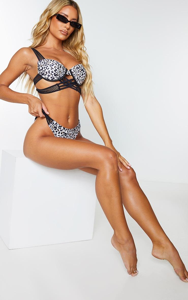 Black Leopard Push Up Cupped Strappy Fishnet Strap Bikini Top 1