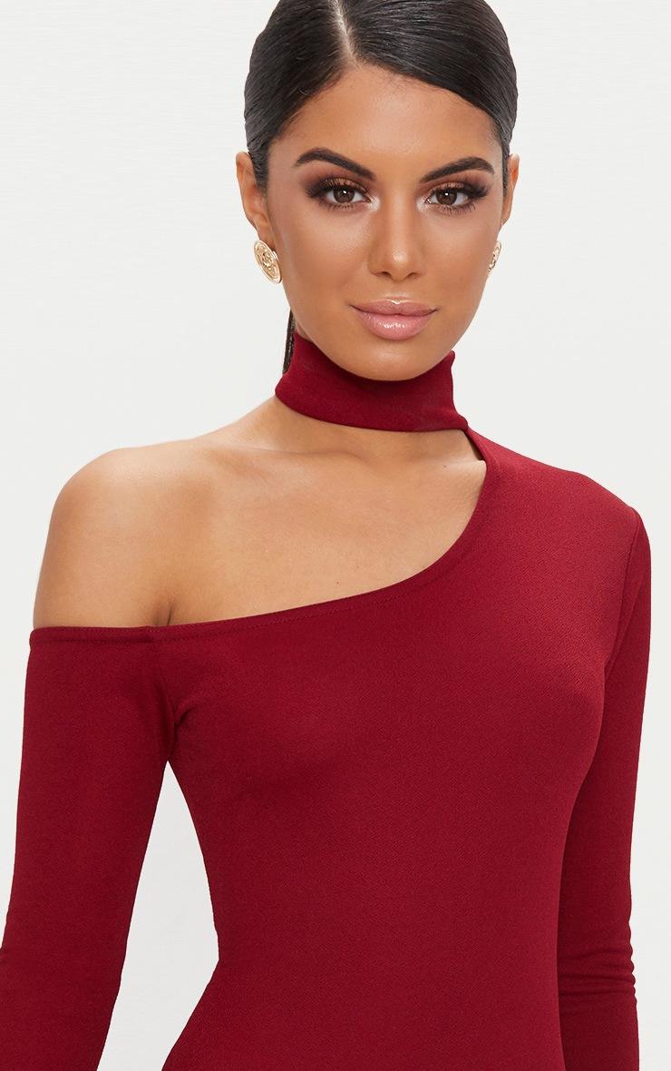 Burgundy Choker Detail One Shoulder Bodycon Dress 5