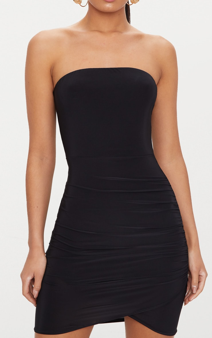 Black Bandeau Wrap Bodycon Dress 5