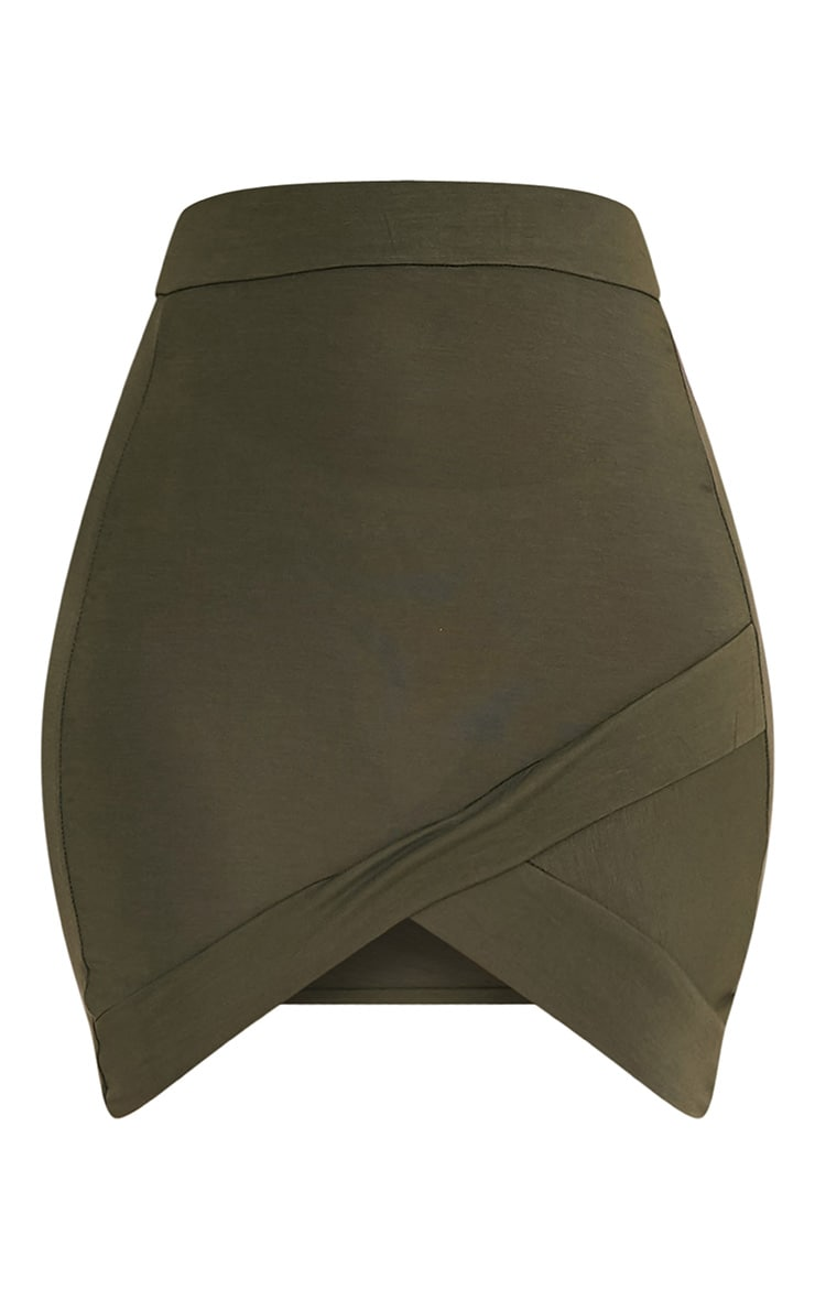 Basic Khaki Asymmetric Mini Skirt 3