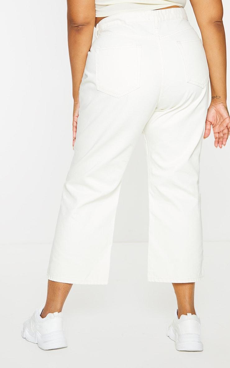 Plus Cream Wide Leg Denim Cropped Jeans 3