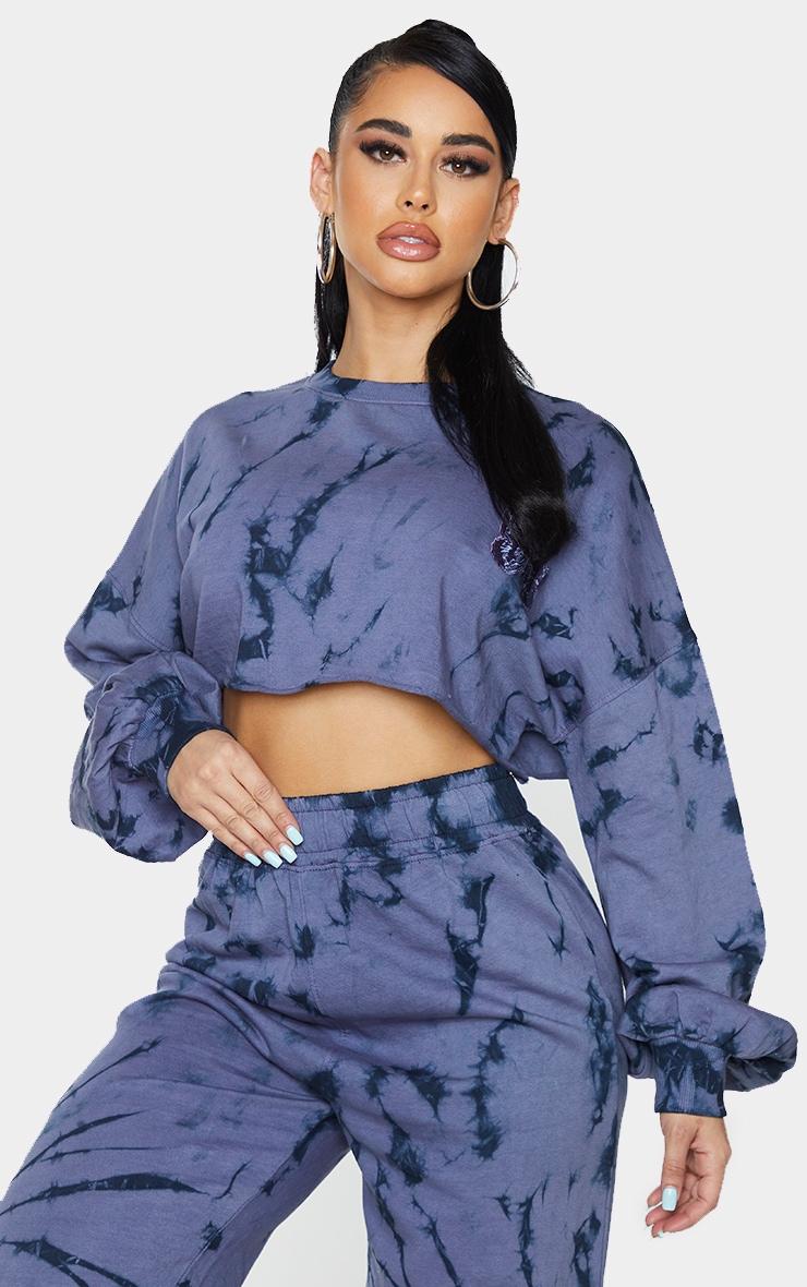 Shape Blue Tie Dye Butterfly Embroidered Cropped Sweatshirt 1