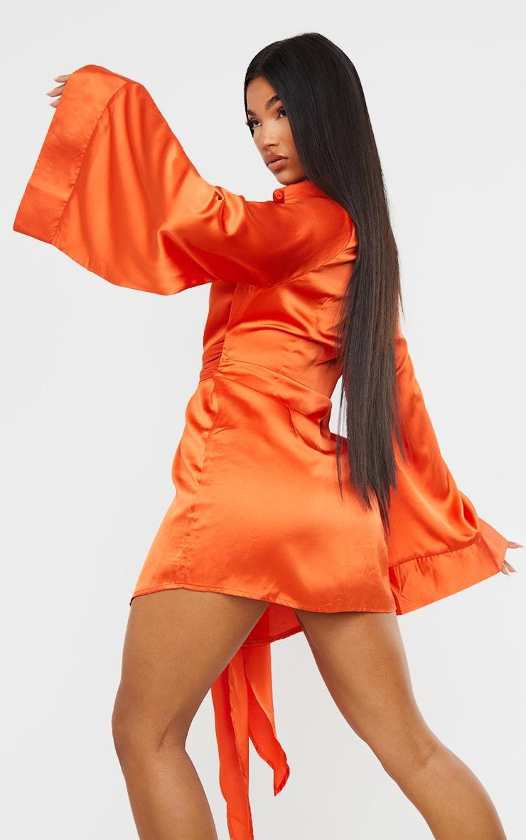 Orange Satin Exaggerated Sleeve Tie Waist Shirt Dress 2