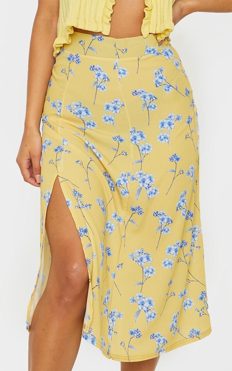Yellow Floral Floaty Midi Skirt 4