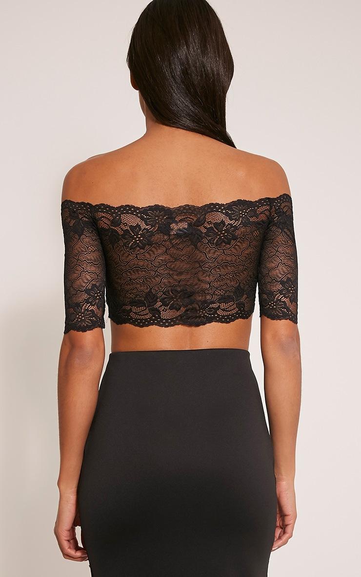 Rian Black Lace Bardot Crop Top 2