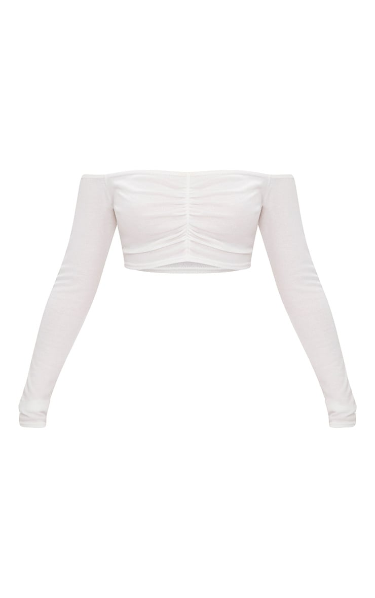 Cream Ruched Front Knit Top 3