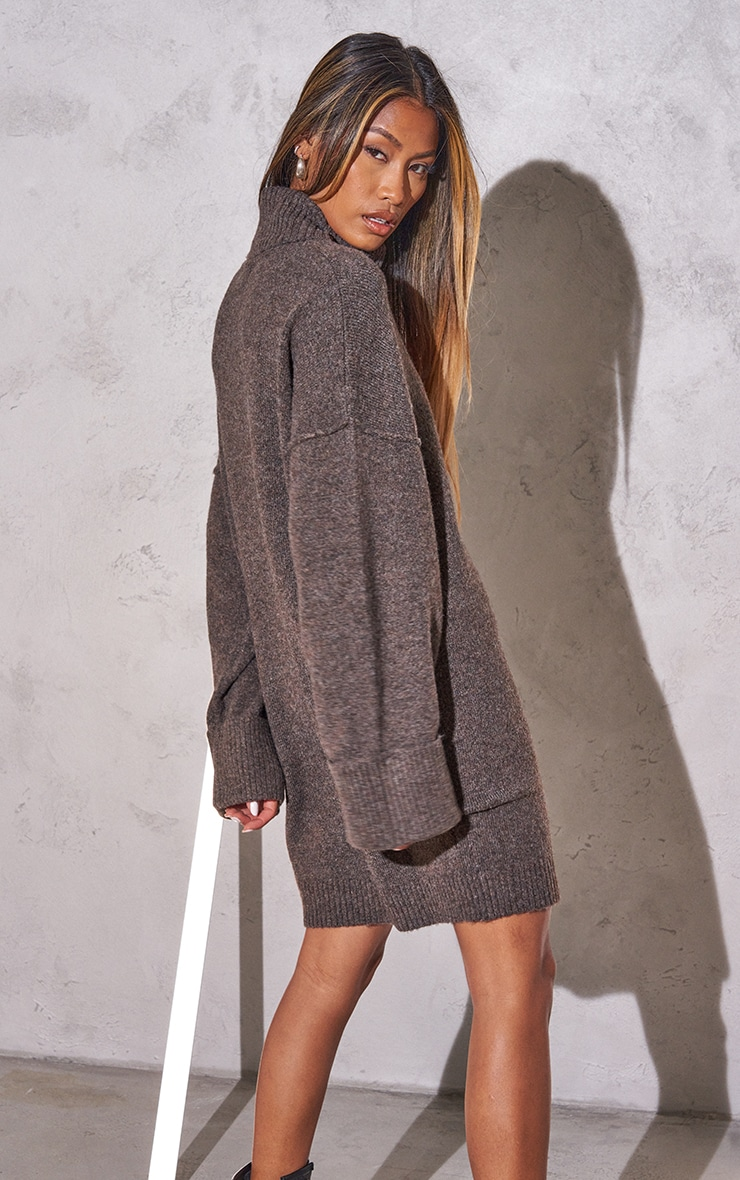 RENEW Chocolate Knitted Slouchy Seam Roll Neck Jumper Dress 2
