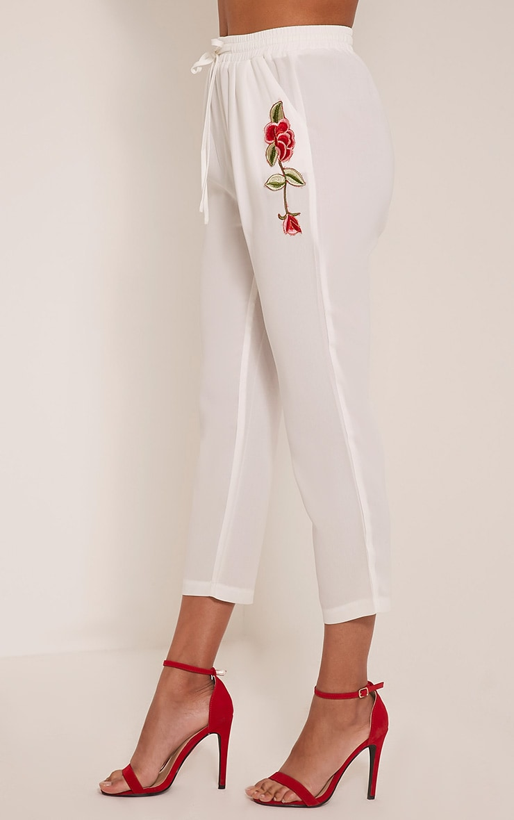 Delaney White Embroidered Pocket Trousers 4