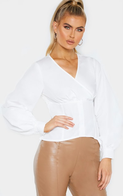 Tall White Plunge Button Detail Full Sleeve Shirt Blouse