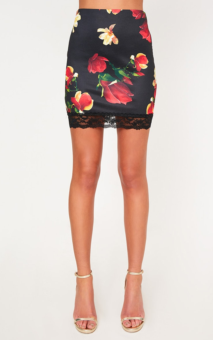 Red Floral Lace Trim Mini Skirt 2