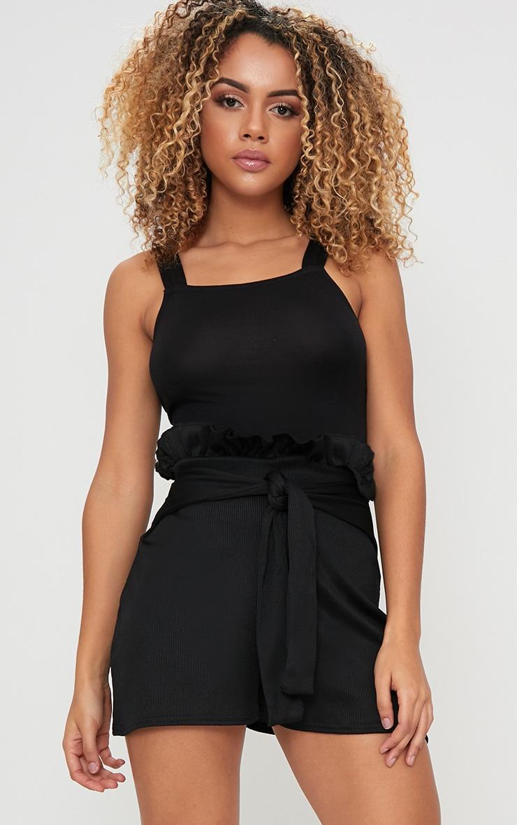 Black Ribbed Paperbag Shorts 1