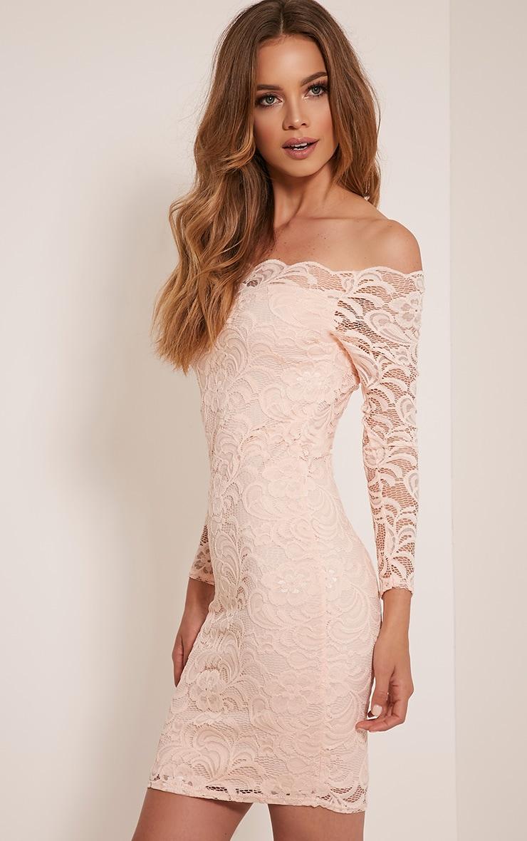 Alice Nude Bardot Lace Midi Dress 4