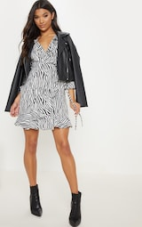 58dc320678e Black Zebra Print Wrap Tea Dress image 4