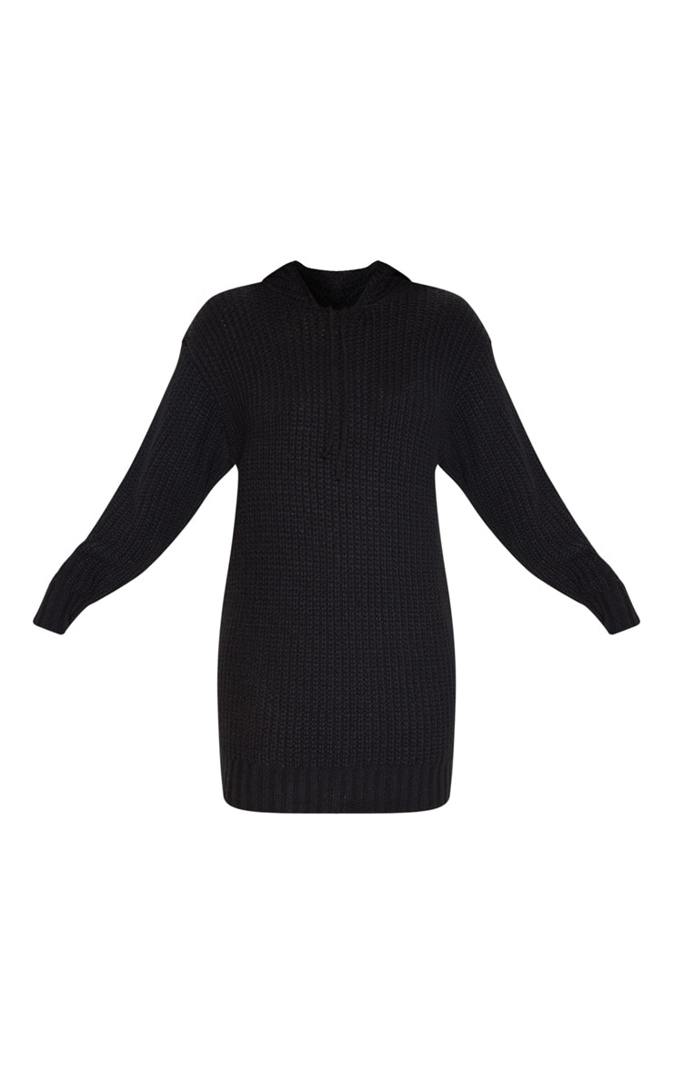 Black Knitted Hooded Sweater Dress 3