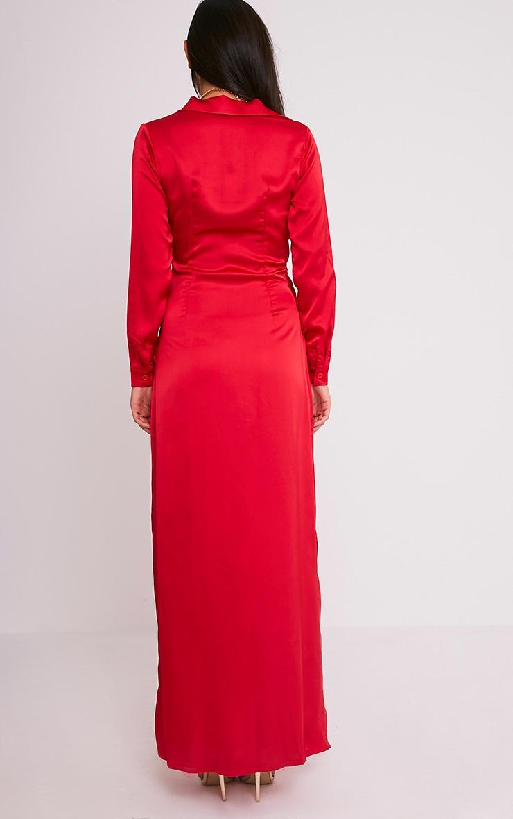 Alyssia Red Twist Front Maxi Shirt Dress 2