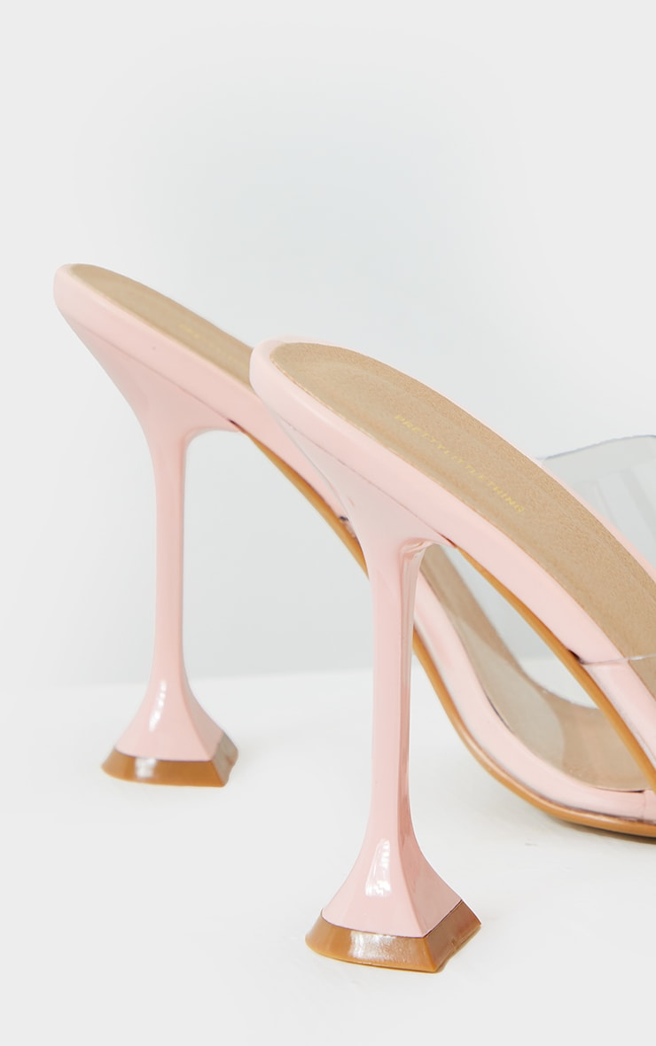 Pink Cake Stand Clear Heel Mules 4