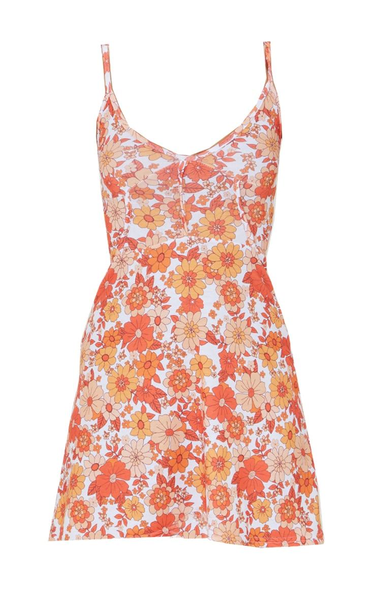 Orange Floral Print Binding Detail Tie Strap Shift Dress 5