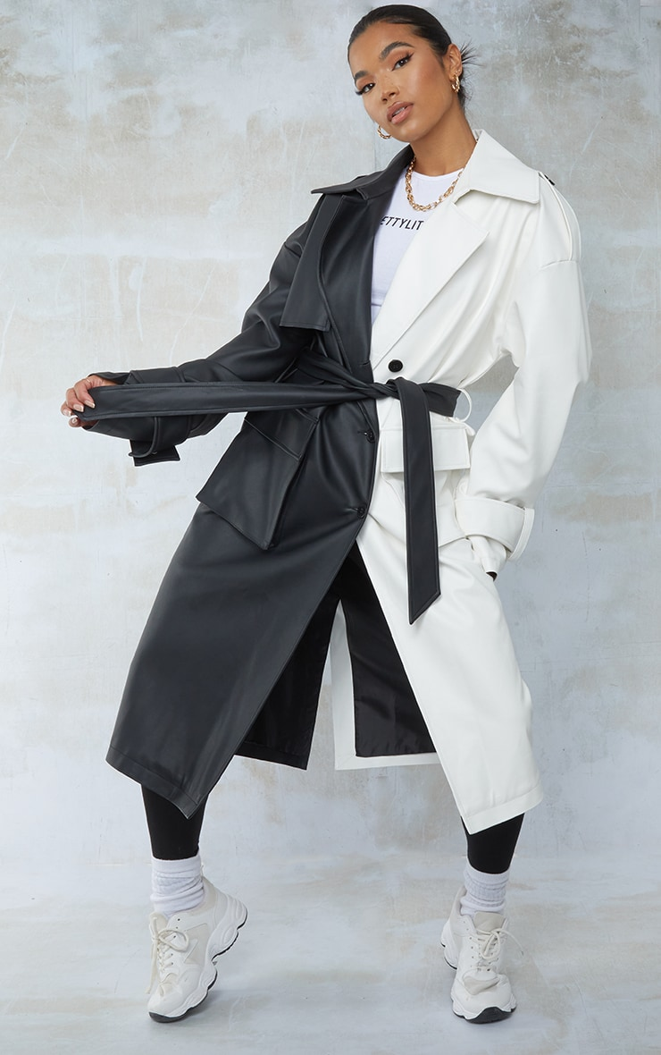 Black Faux Leather Two Tone Pocket Trench Coat 3
