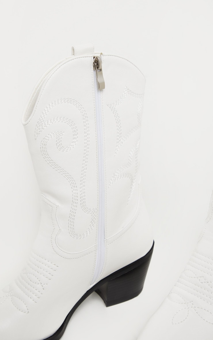 White Stitch Detail Western Calf Boot 4