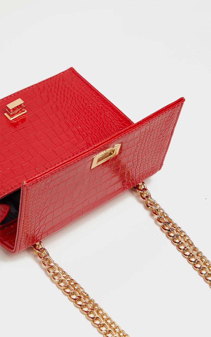 Red Patent Croc Flap Square Cross Body Bag 4