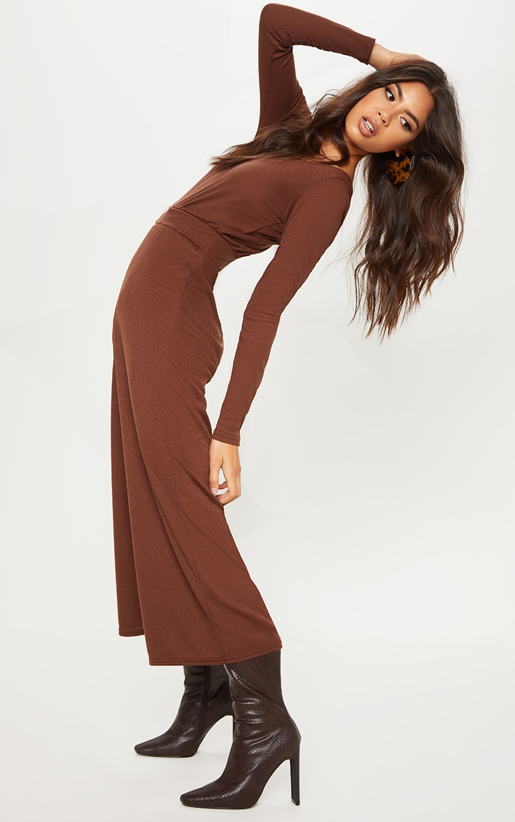 Chocolate Rib Off Shoulder Culotte Jumpsuit 4