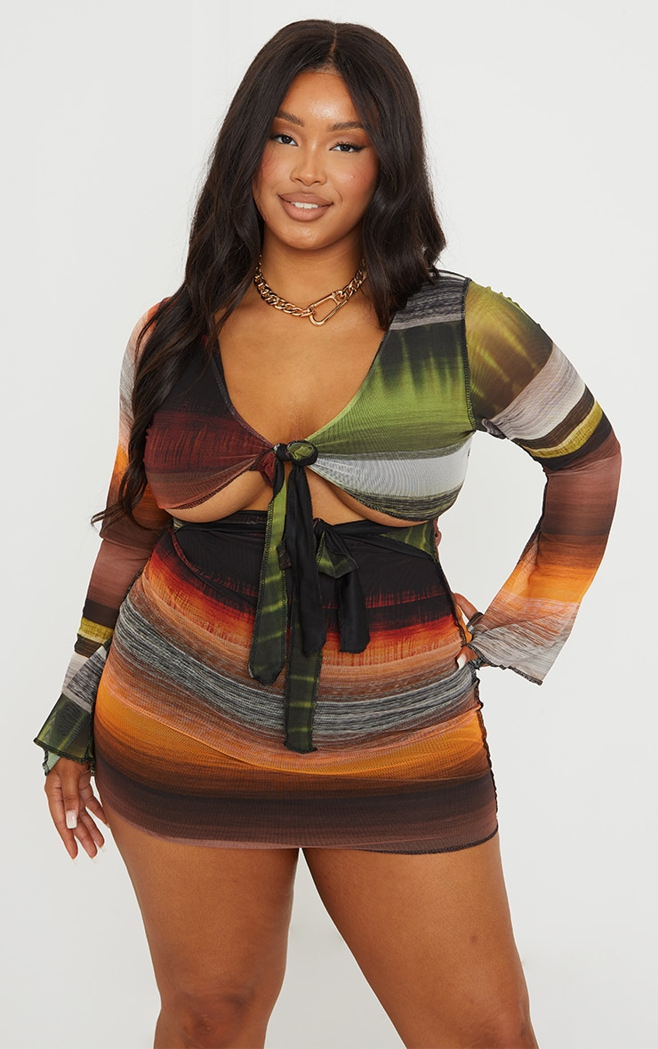 Plus Multi Abstract Stripe Print Cut Out Tie Front Mesh Dress 3