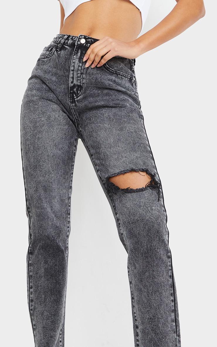 Vintage Wash Black Raw Hem Knee Rip Mom Jeans 4