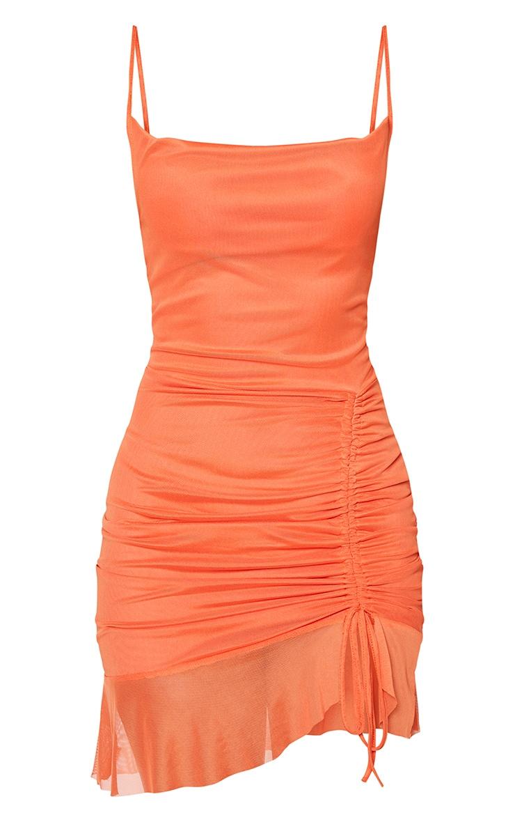 Bright Orange Mesh Ruched Bodycon Dress 5