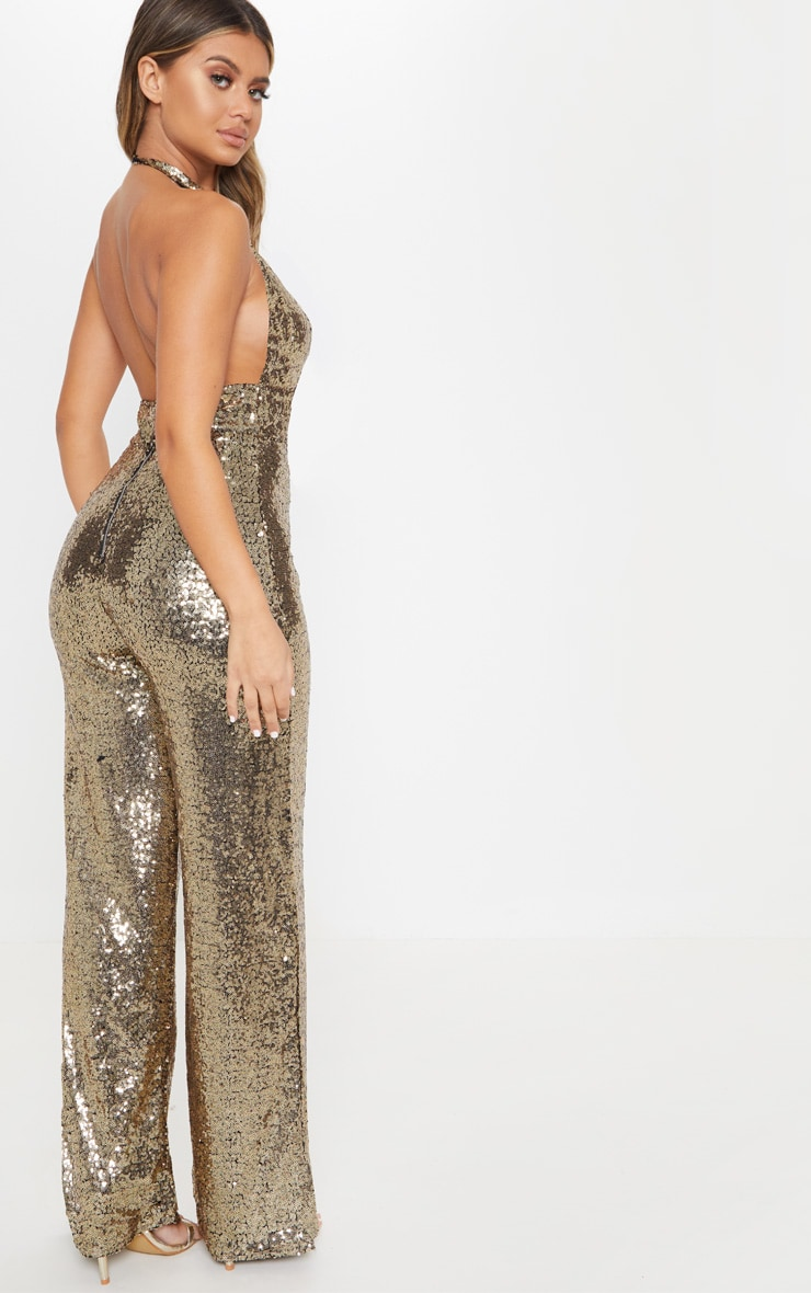Gold Sequin Halterneck Jumpsuit 2