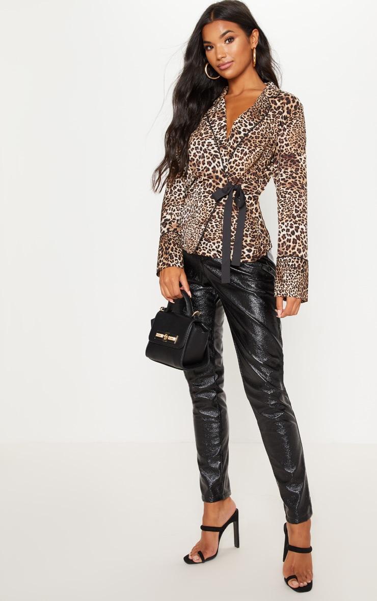 Tan Leopard Belted Blouse  4