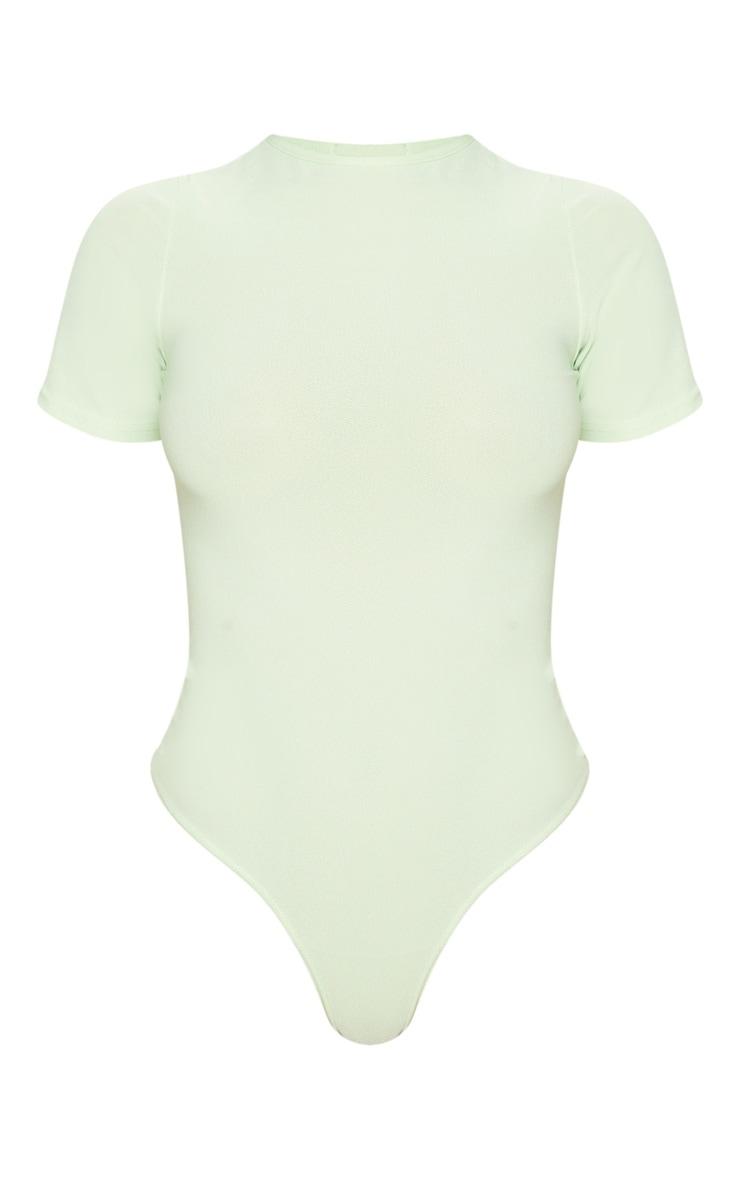 Sage Green Crepe Short Sleeve Thong Bodysuit 3