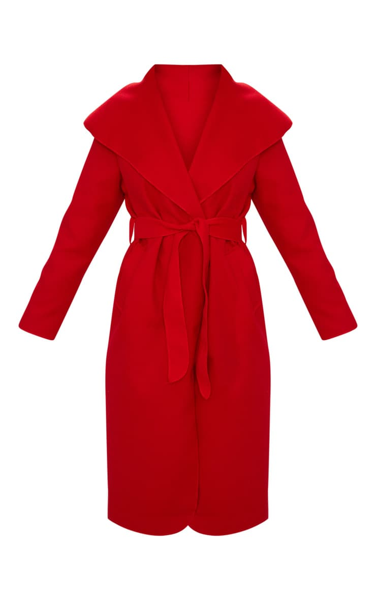 Veronica Red Oversized Waterfall Belted Coat 3