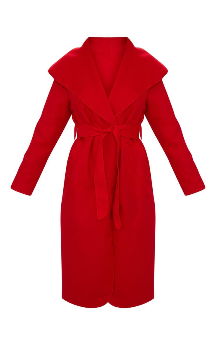 Manteau oversize effet cascade rouge à ceinture 3