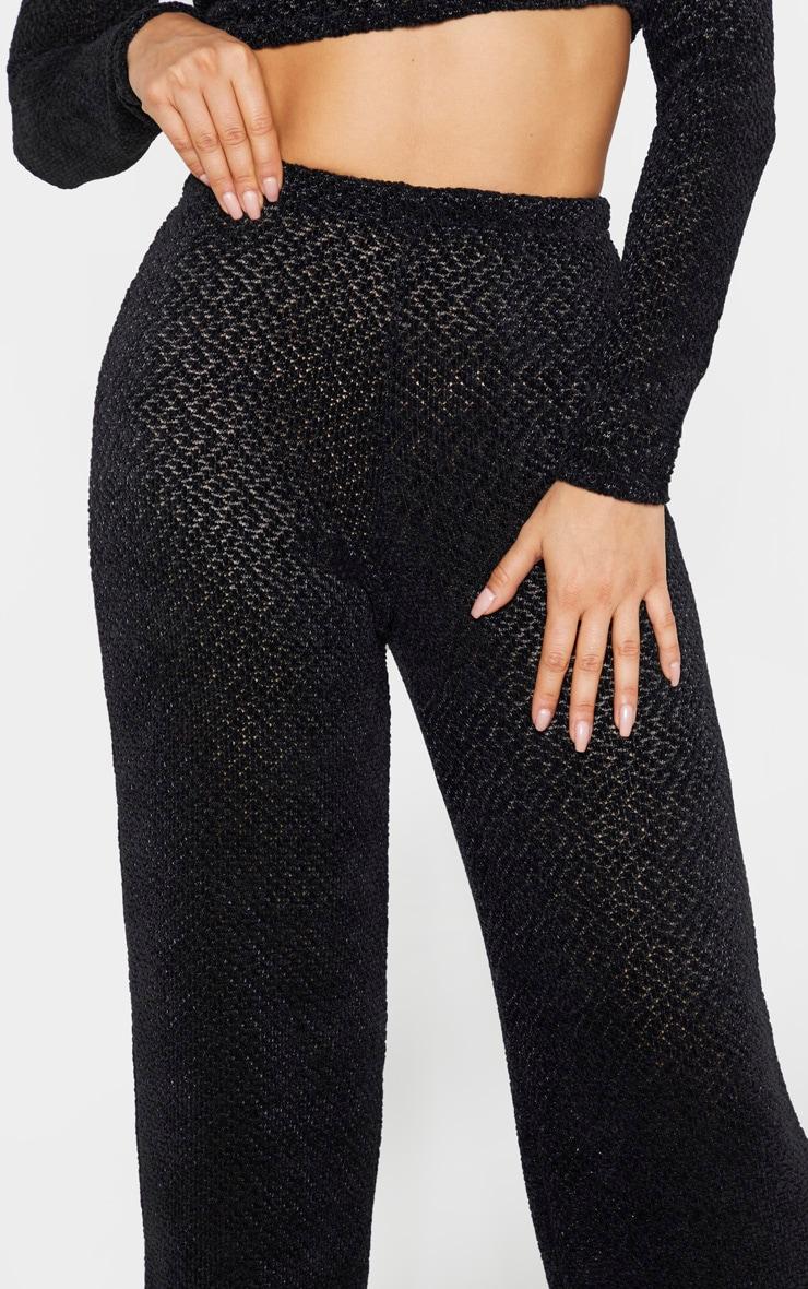 Tall - Pantalon flare noir en maille douce  5