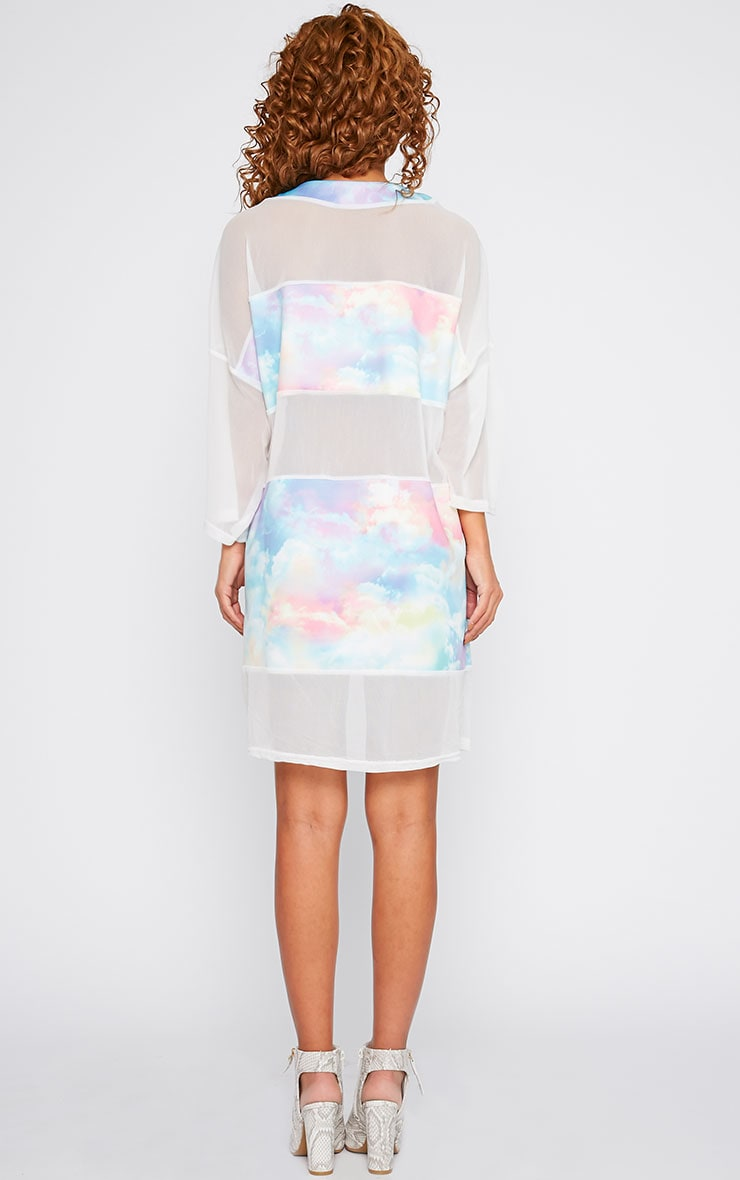 Yakira Cloud Print Mesh Panel Dress 2