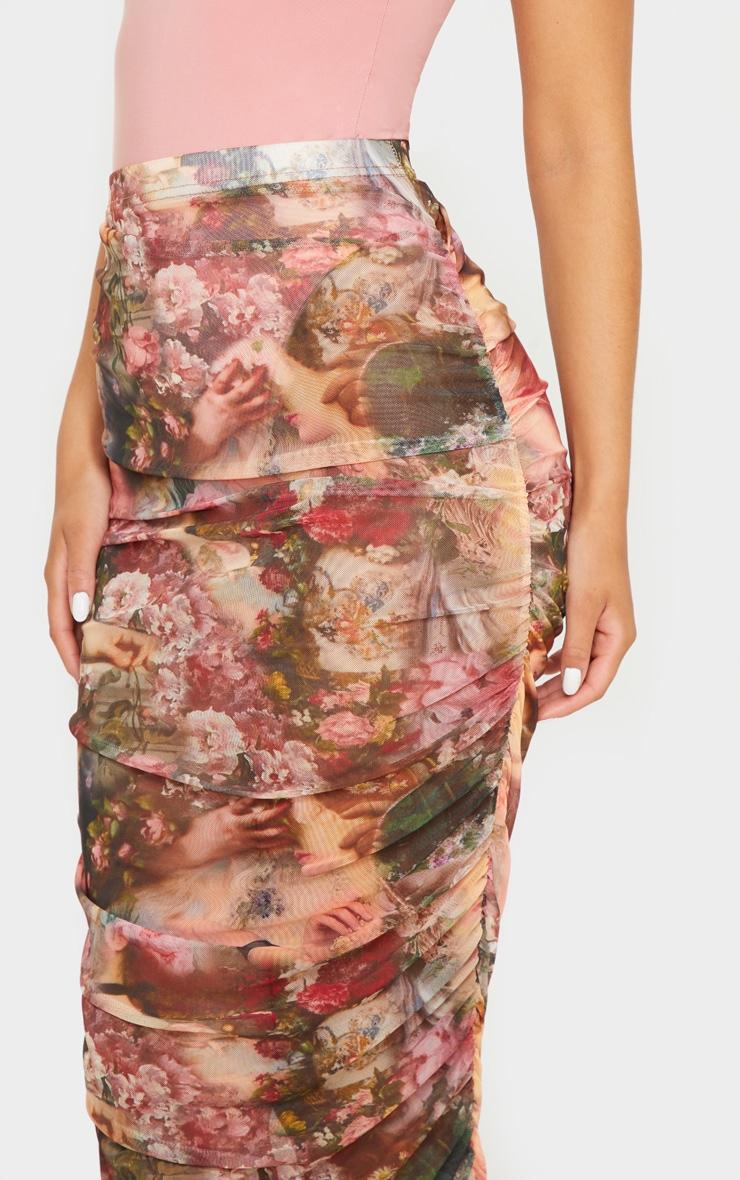 Camel Renaissance Mesh Ruched Midaxi Skirt  5