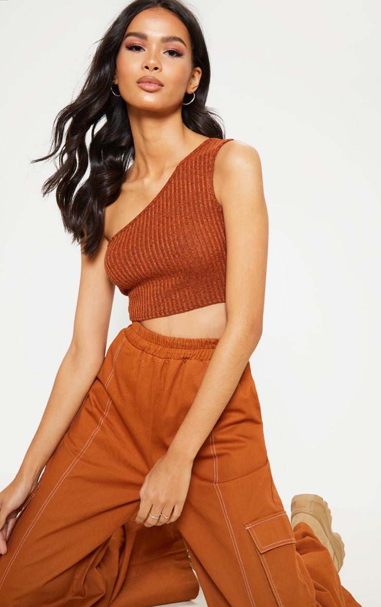 Orange Knitted Ribbed Asymmetric Top 4