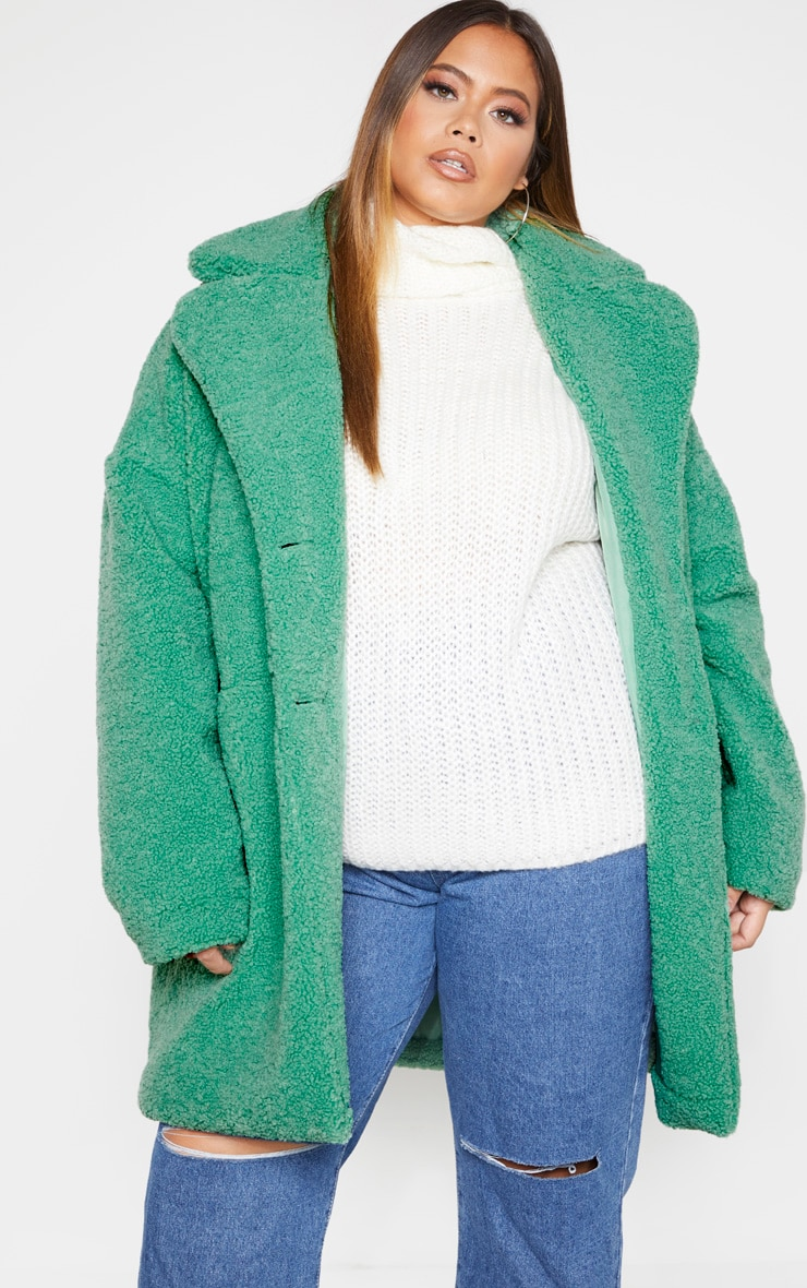 Plus Sage Green Midi Teddy Borg Coat  1