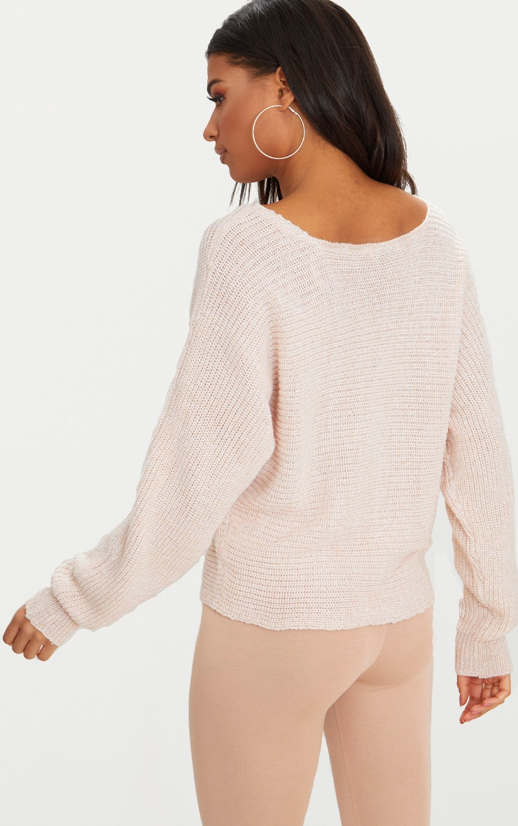 Pink Batwing Fisherman Jumper 2