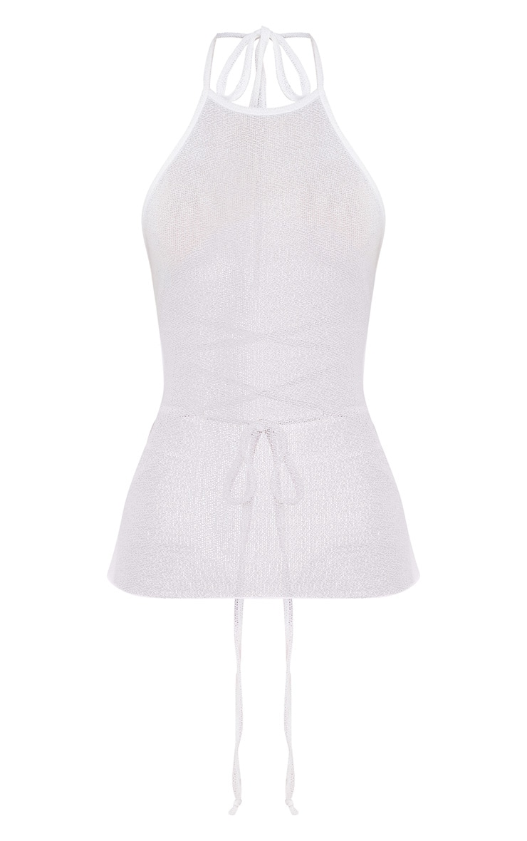 White Lightweight Knit Open Back Top 3