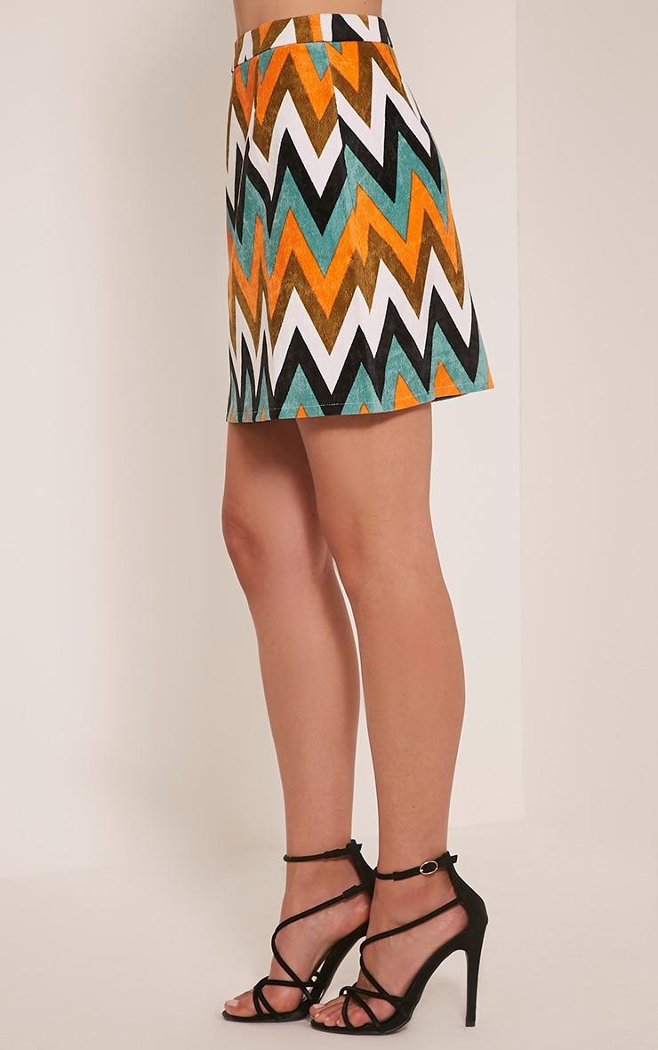 Annetta Turquoise Chevron Cord Mini Skirt 4