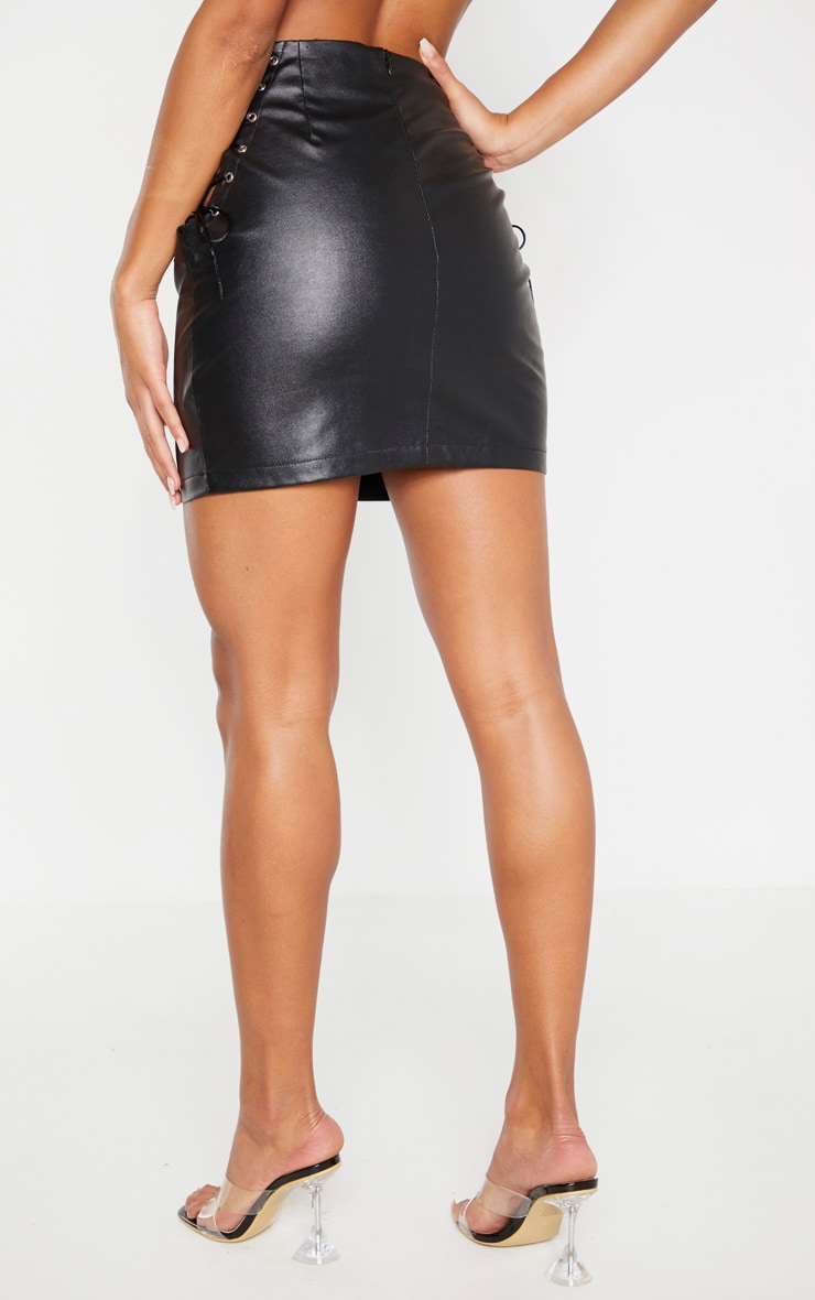 Black Faux Leather Lace Up Side Mini Skirt 3