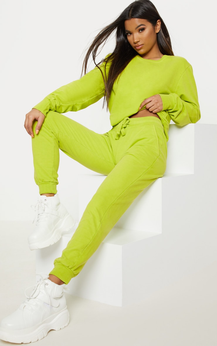 Lime Green Casual Tie Waist Jogger