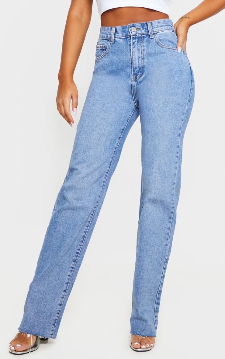 Mid Blue Wash Long Straight Leg Raw Hem Jeans 2